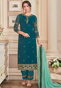 Teal Georgette Straight Embroidered Trouser Pakistani Suit - 41042