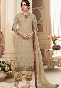 Beige Georgette Straight Embroidered Trouser Pakistani Suit - 41044