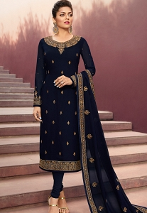 Drashti Dhami Navy Blue Satin Georgette Straight Churidar Suit - 4105