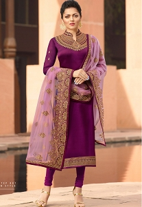 Drashti Dhami Purple Satin Georgette Straight Churidar Suit - 4108
