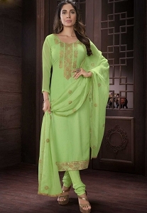 Light Green Georgette Straight Churidar Style Suit - 420