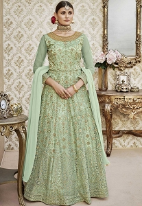 Green Shade Net Floor Length Embroidered Anarkali Suit - 4405