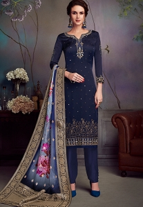 Navy Blue Satin Georgette Straight Embroidered Trouser Suit - 4545
