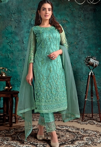 Mint Blue Net Embroidered Straight Trouser Suit - 4637