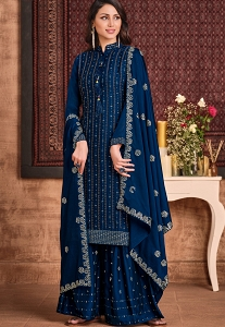Dark Blue Two Tone Silk Georgette Embroidered Palazzo Suit - 4661