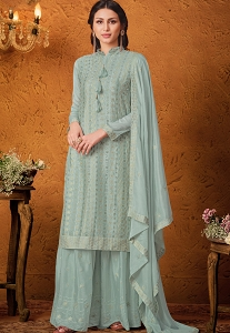 Light Blue Chinnon Sequins Embroidered Sharara Suit - 4683