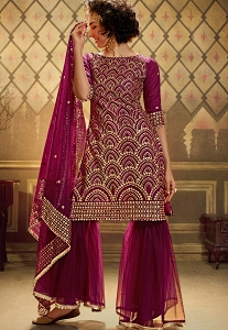 Wine Net Embroidered Sharara Suit - 4901