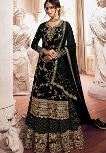 Black Satin Georgette Embroidered Lehenga Suit - 4906