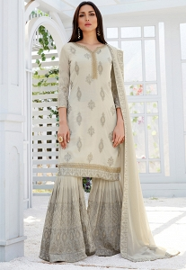 Light Grey Georgette Straight Sharara Style Suit - 497