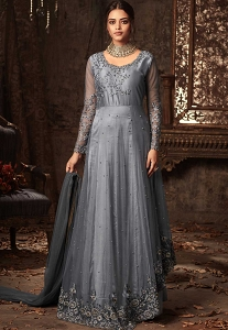 Grey Net Long Anarkali Embroidered Suit - 50003