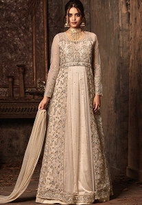Beige Net Floor Length Embroidered Anarkali Suit - 50006