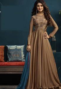 Jennifer Winget Beige Silky Georgette Floor Length Anarkali Suit - 5017