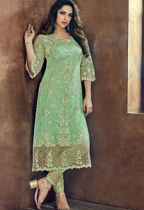 Green Net Trouser Style Pakistani Suit - 502
