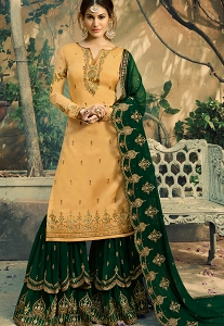 Yellow & Green Satin Georgette Embroidered Sharara Suit - 5046
