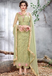 Green Net Embroidered Straight Trouser Suit - 5152