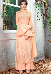 Peach Silk Embroidered Straight Palazzo Style Suit - 5157