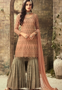 Peach Georgette Sharara Style Suit - 52002