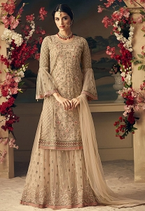Beige Net Embroidered Palazzo Style Pakistani Suit - 54006
