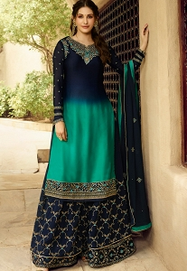 Blue Shade Satin Georgette Sharara Style Suit - 5403