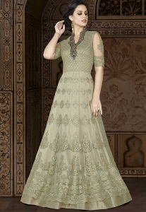 Light Green Net Embroidered Long Anarkali Suit - 5408B
