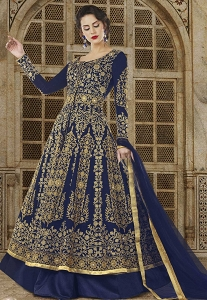 Blue Silk Floor Length Embroidered Anarkali Suit - 5601