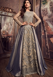 Sonal Chauhan Grey Silk Floor Length Embroidered Anarkali Suit - 5607