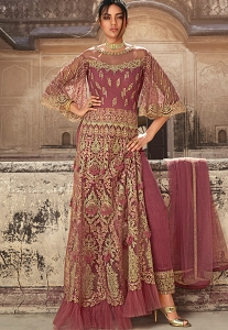 Onion Pink Net Embroidered Trouser Style Anarkali Suit - 5607