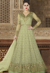 Green Shade Net Floor Length Embroidered Anarkali Suit - 5608