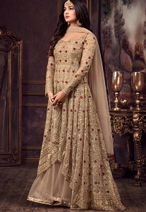 Sonal Chauhan Beige Net Floor Length Heavy Anarkali Suit - 5608