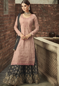 Pink & Grey Georgette Sharara Style Suit - 57003