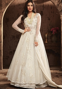Sonal Chauhan White Net Floor Length Anarkali Suit - 5706