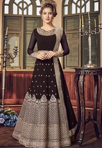 Brown Shade Georgette Floor Length Designer Anarkali Suit - 5801D