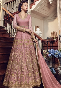 Light Pink Net Embroidered Lehenga Style Anarkali Suit - 5804B