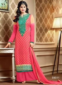 Princely Pink Georgette Palazzo Style Suit