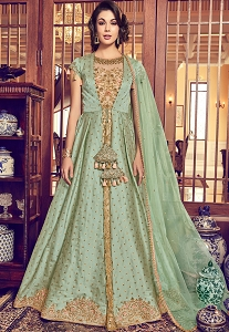 Green & Beige Jacquard Silk Embroidered Jacket Style Floor Length Anarkali Suit - 6010