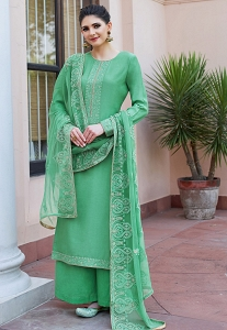 Green Shade Maslin Resham Embroidered Palazzo Style Suit - 602