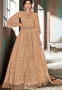 Peach Net Embroidered Lehenga Style Anarkali Suit - 606