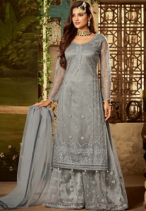Grey Shade Net Embroidered Sharara Style Pakistani Suit - 61003