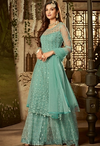 Blue Shade Net Embroidered Sharara Style Pakistani Suit - 61004