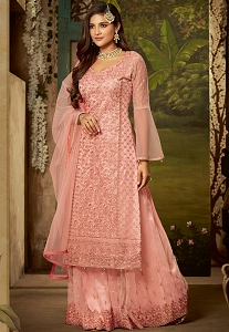 Pink Net Embroidered Sharara Style Pakistani Suit - 61005