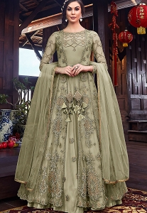 Pastel Green Net Embroidered Floor Length Jacket Style Anarkali Suit - 6102B