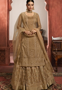 Golden Net Embroidered Lehenga Style Suit - 6104
