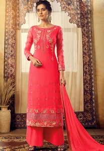 Rani Pink Georgette Straight Palazzo Suit - 6125