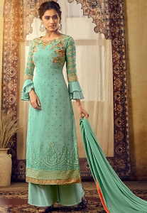 Sky Blue Georgette Straight Palazzo Suit - 6127