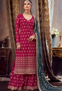 Rani Pink Georgette Embroidered Palazzo Suit - 6162