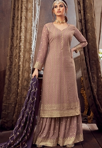 Light Mauve Georgette Embroidered Palazzo Suit - 6164