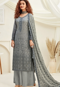 Grey Viscose Chinnon Straight Embroidered Palazzo Suit - 6183