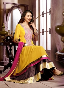 Karishma Kapoor Yellow Georgette Double Layer Anarkali Bollywood Suit