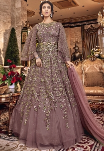Mauve Net Embroidered Designer Anarkali Suit - 6305