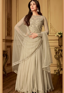 Light Beige Embroidered Net Floor Length Anarkali Suit - 6406